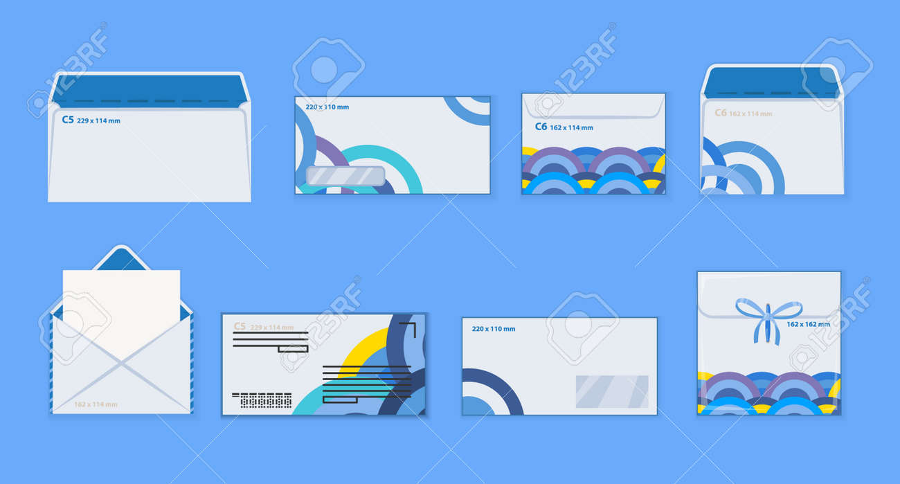 Corporate identity template white envelopes set. Blank mockups front back open closed transparent window in front. - 149818126