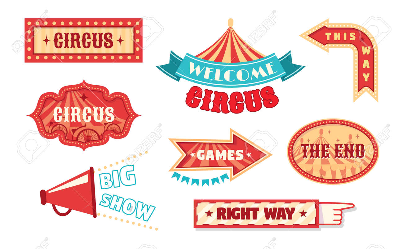 Circus vintage labels pointer and signboards. template for carnival, event banner emblems for entertainment. - 149818127