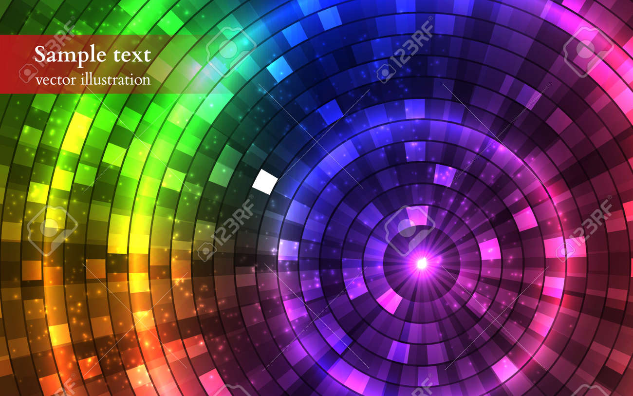 Abstract Colorful Disco Lights. Tunnel. Vector illustration - 40759638