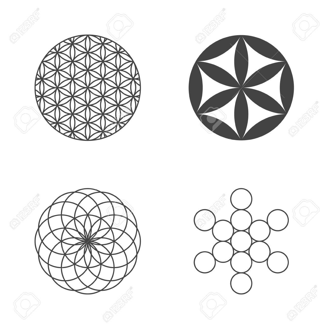 Fleur de Vie. ensemble d'icônes. éléments de conception. Vecteur Banque d'images - 41547440