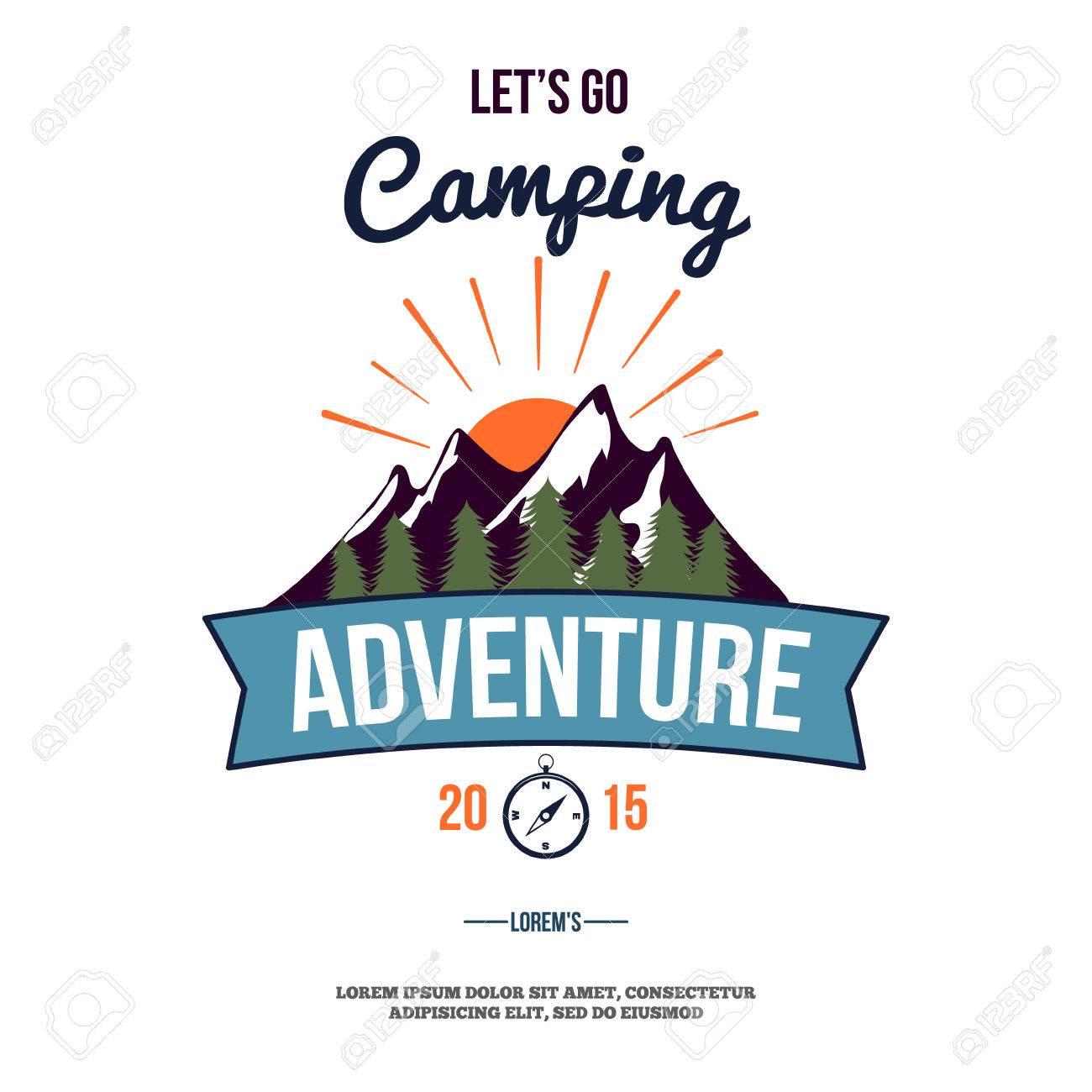camping wilderness adventure badge graphic design logo emblem vector illustration - 42278436