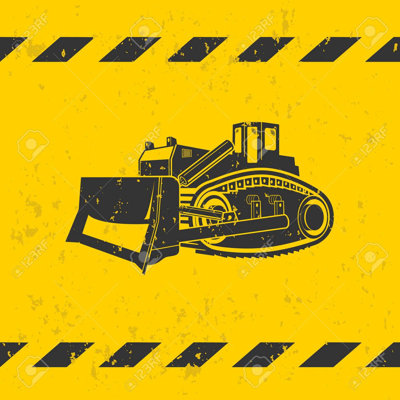 Bulldozer illustration on yellow background - grunge effect on separate layer - 42278438