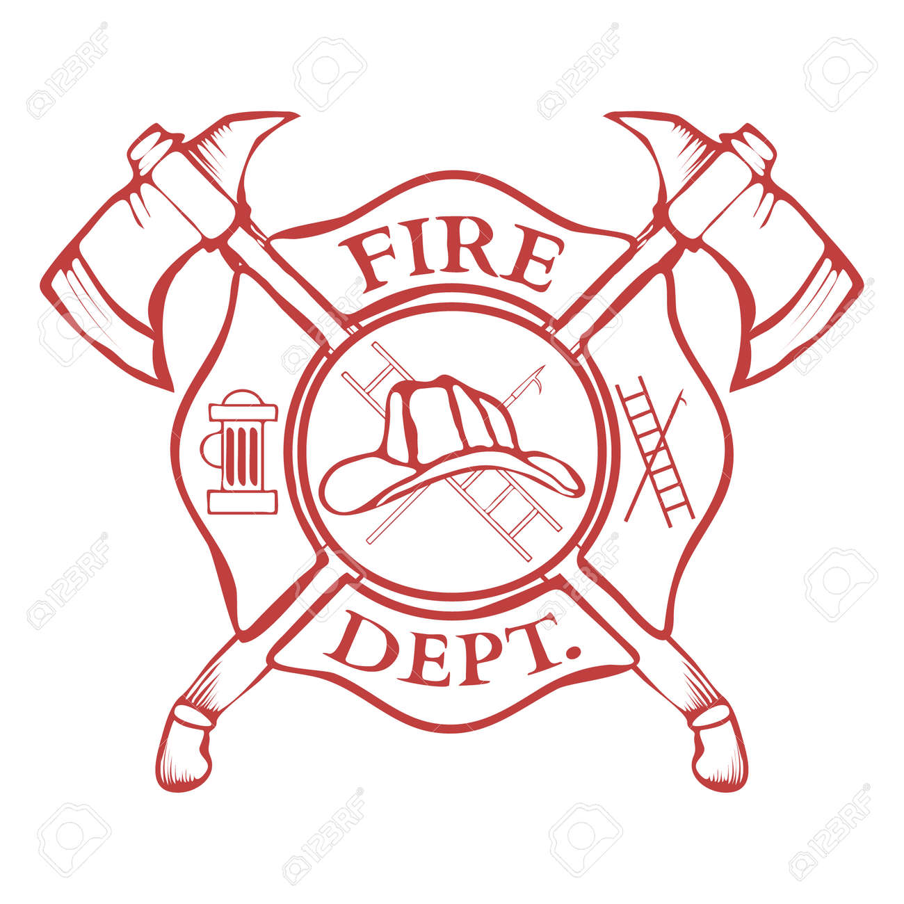 Fire Dept. Label. Helmet with Crossed Axes. Vector Illustration - 42421917
