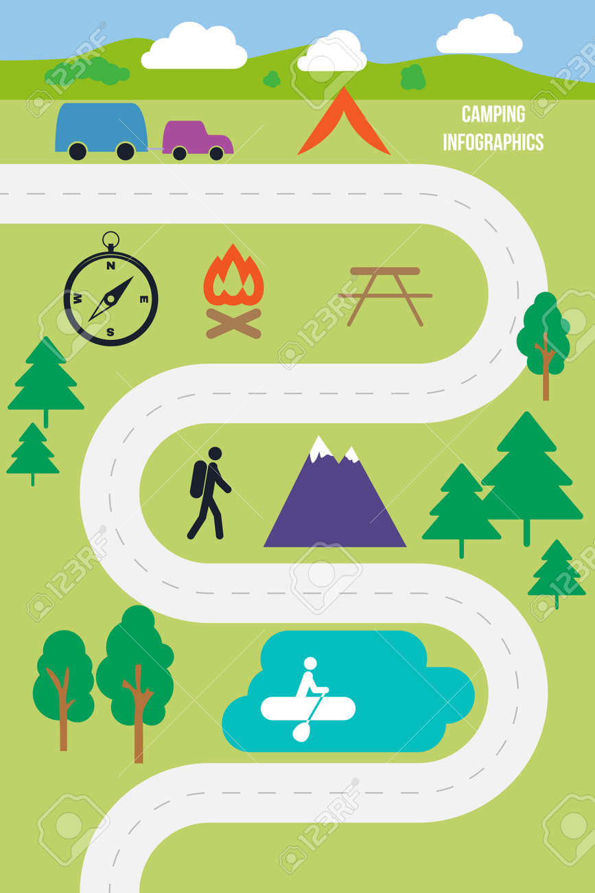Camping outdoor infographics flat style vector illustration - 42460166