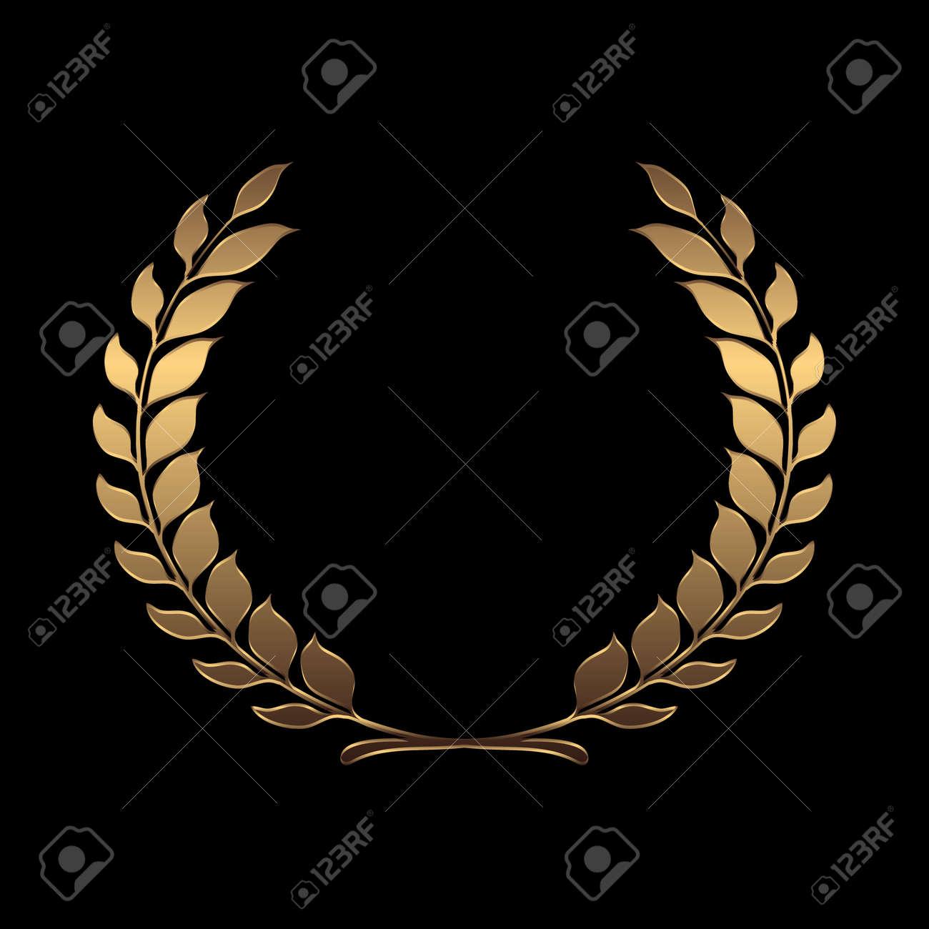 Vector gold award wreaths, laurel on black background vector illustration - 42460215