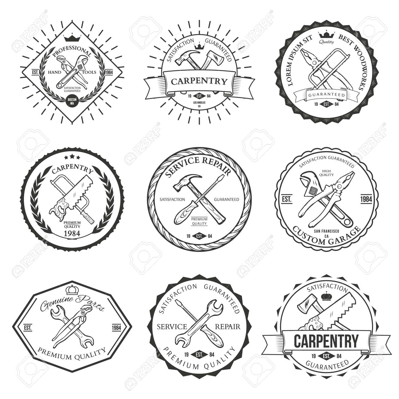 Set Of Vintage Carpentry Hand Tools Repair Service Labels And Design Elements Vector Stock
