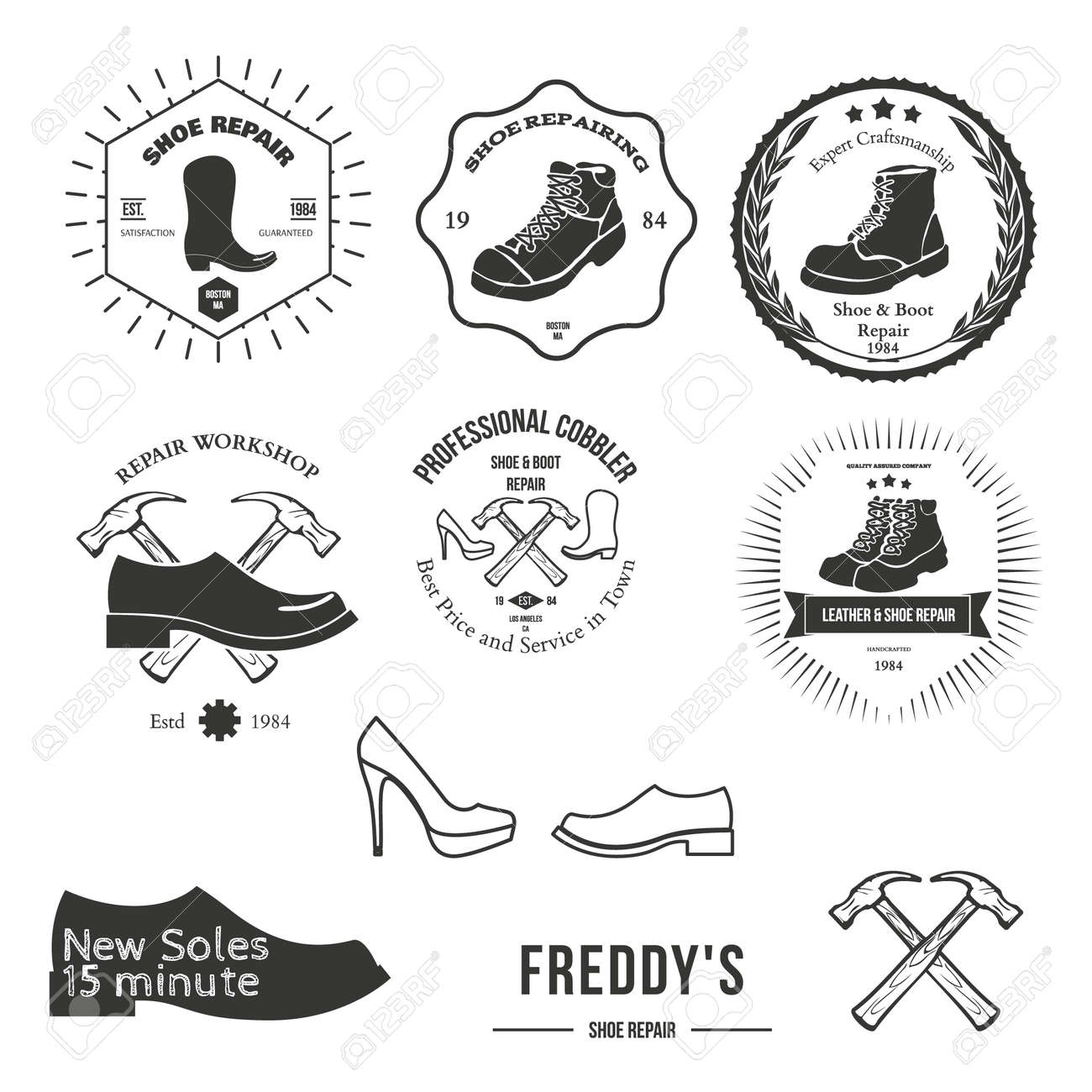 set of vintage logo badge emblem or logotype elements for shoemaker shoes shop