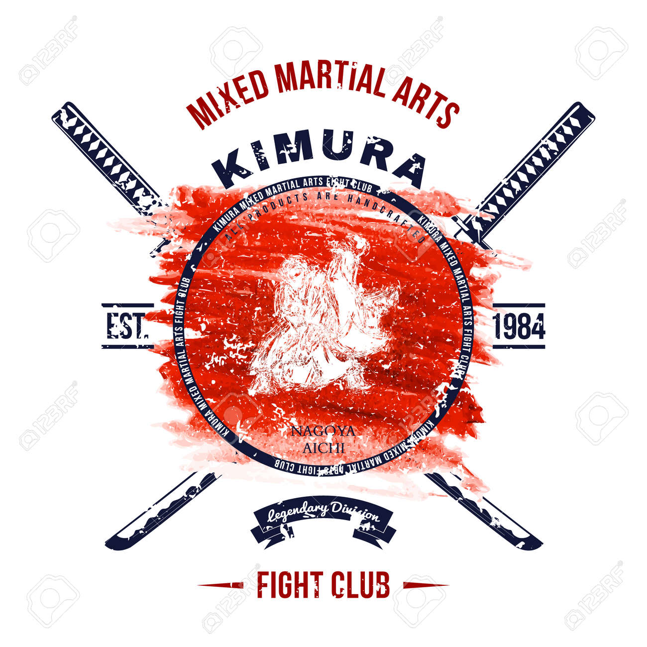 Fight Club Grunge print with samurai swords - 47207471