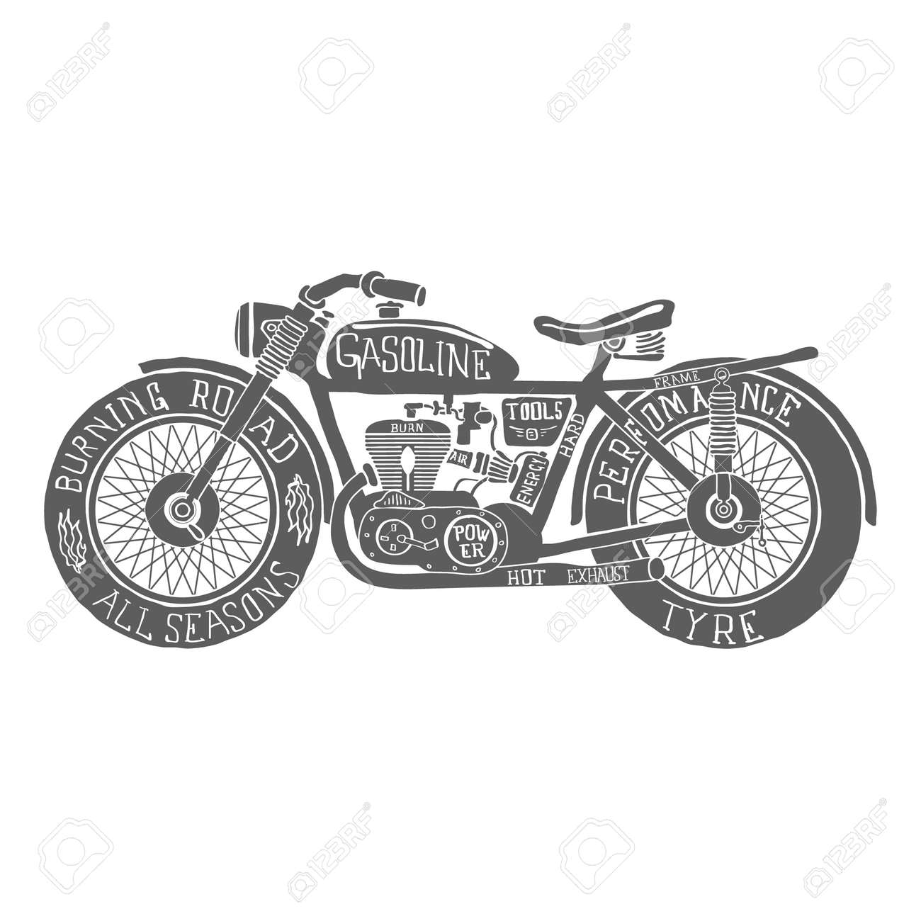 Vintage Motorcycle Clipart Black And White   Reviewmotors.co