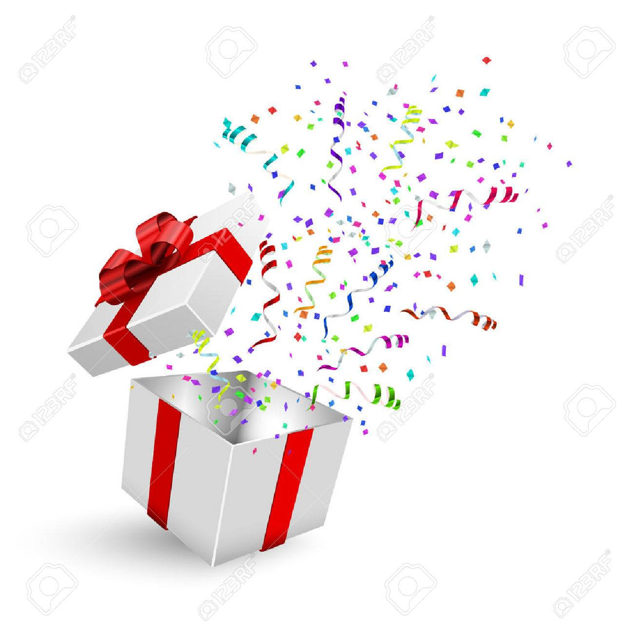 Opened 3d realistic gift box with red bow and confetti. Vector illustration. - 48218531