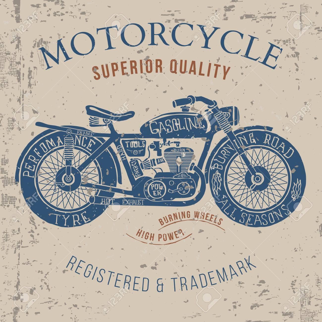 6a077a115557d Vintage Motorrad-Design für T-Shirt-Grafik-Druck Vektor-Illustration  Standard