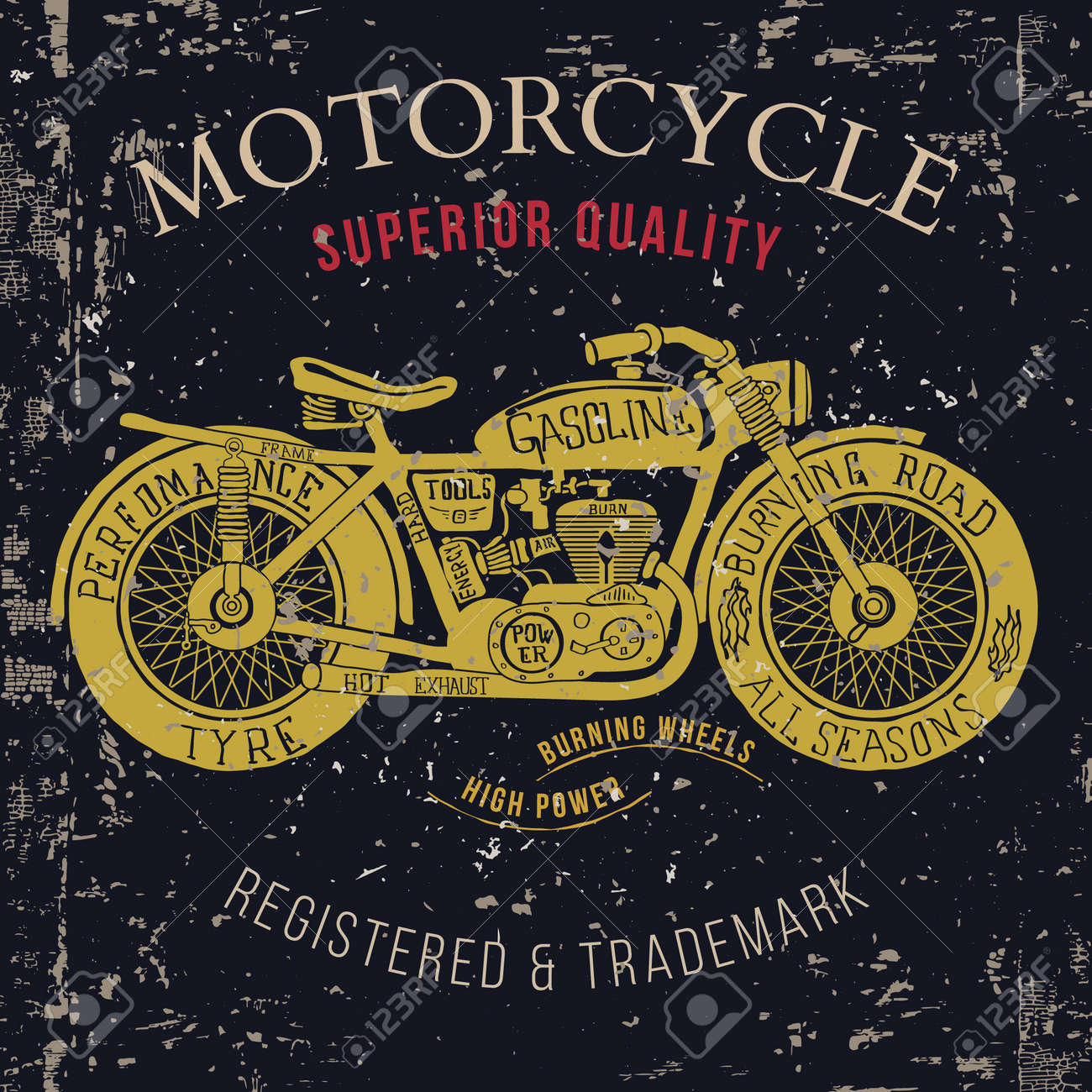Motorcycle vintage graphics, Road Trip , t-shirt typography, Vintage. Vector Illustration - 54970818