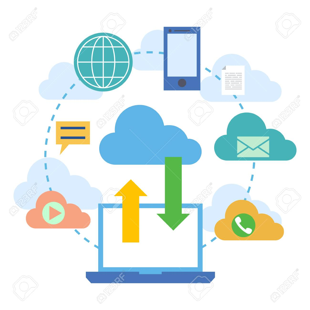 Vector   Web Banners For Cloud Computing Services And Technology, Data  Storage. Concepts For Web Design, Marketing, And Graphic Design. Vector  Illustration