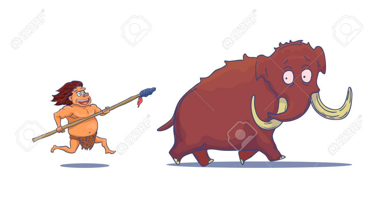 Cartoon Caveman with Spear hunting Mammoth - 63433861