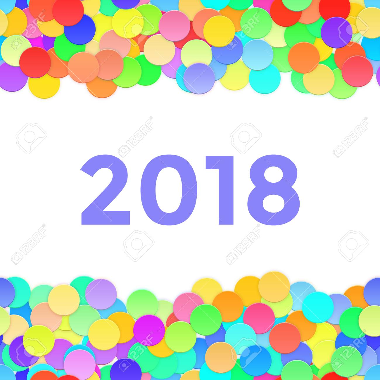 happy new year frame with 2018 and confetti vector illustration stock illustration 92045507