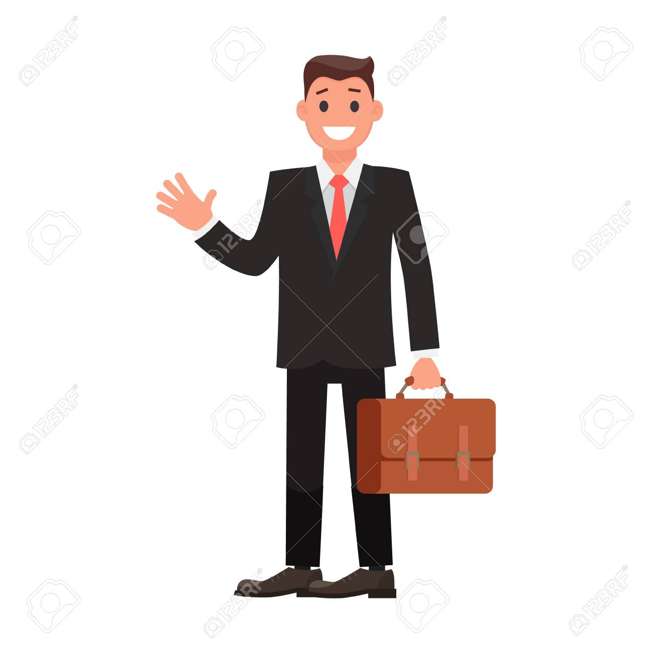 Flat Design Character Businessman with Briefcase. Vector illustration - 127175246