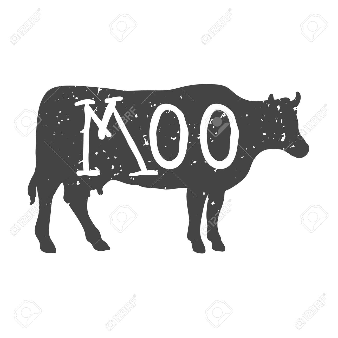 Cow Silhouette with Moo Text. Vector - 133200447