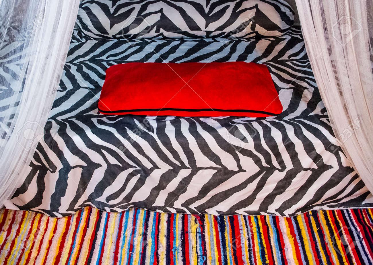 Décoration de chambre de style africain avec la copie de zèbre et tapis  coloré