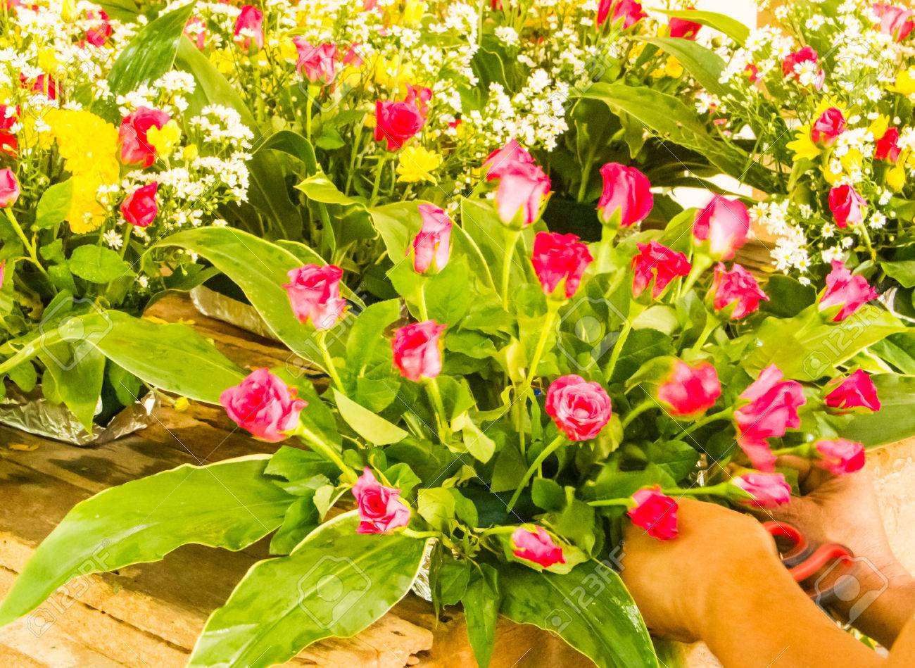Flower Stylist Decoration Flower For Wedding Theme Stock Photo