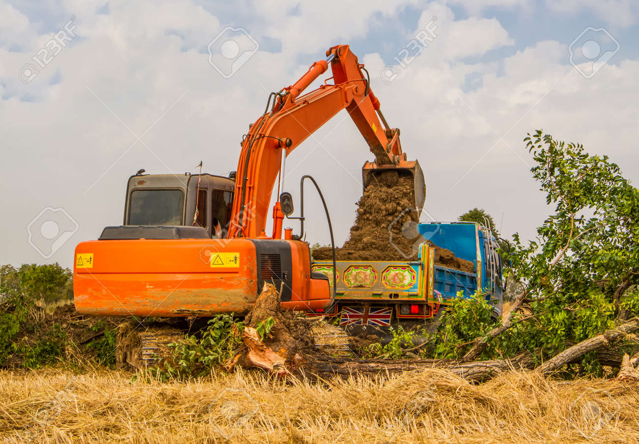 Industrial truck loader excavator moving earth and uploading into a truck stock photo 24653954