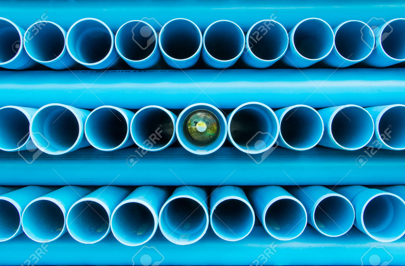 Blue PVC water pipe background