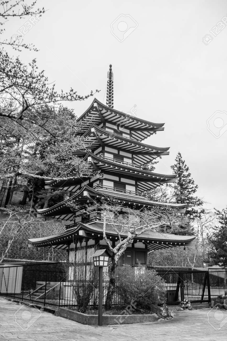 Japanese pagoda in black and white