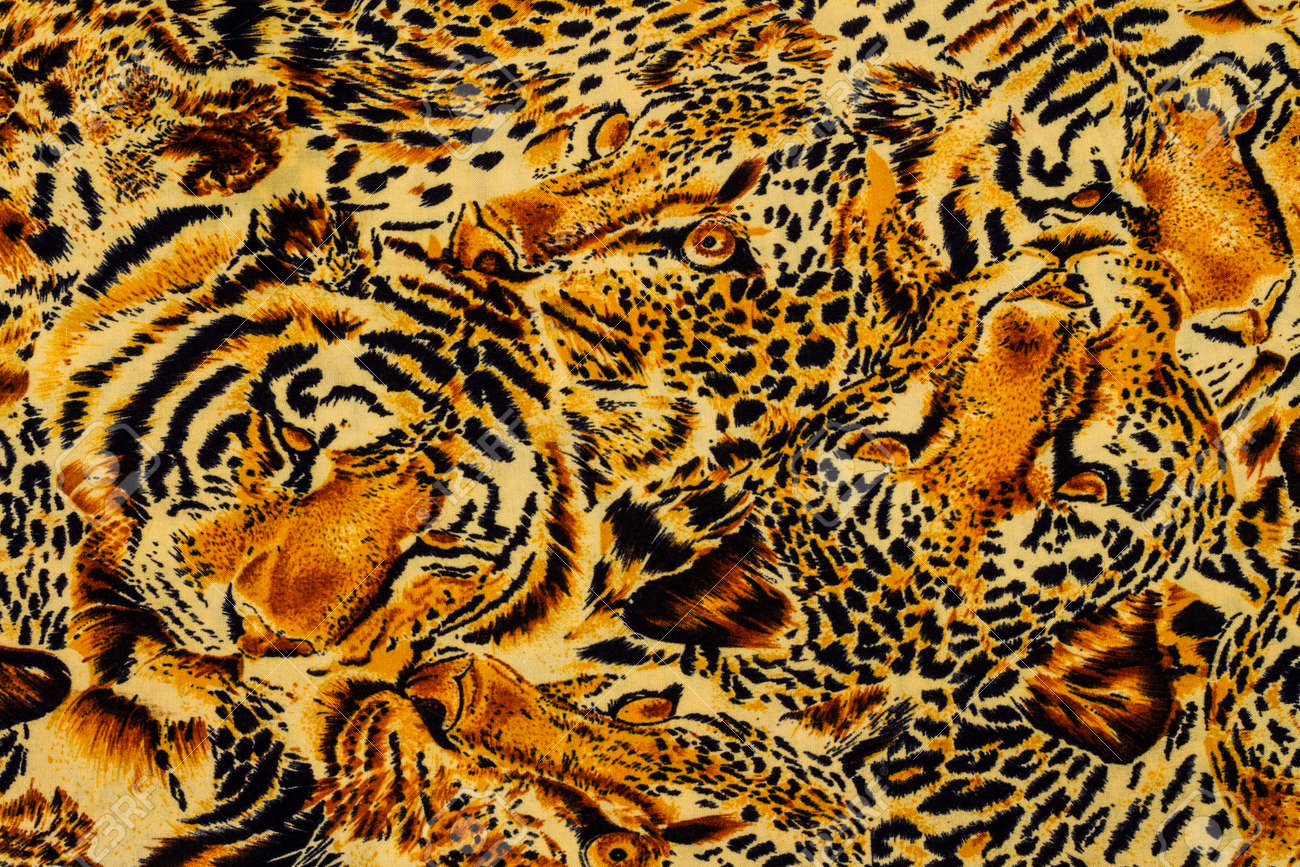 Tiger print fabric close up background