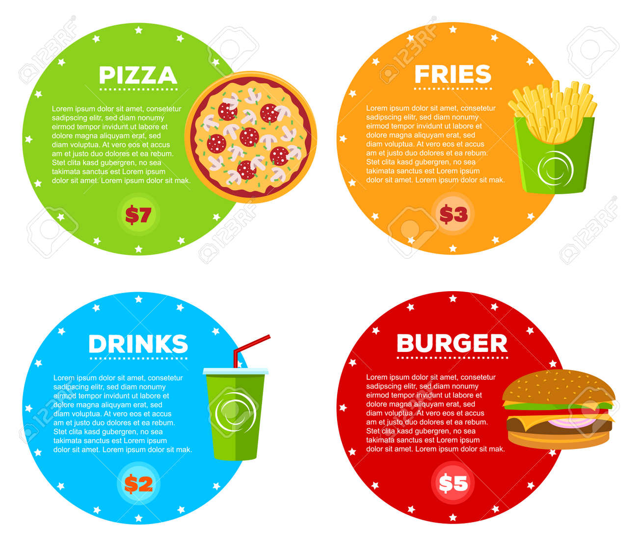 set of fast food cafe menu design items. hamburger, pizza, cola
