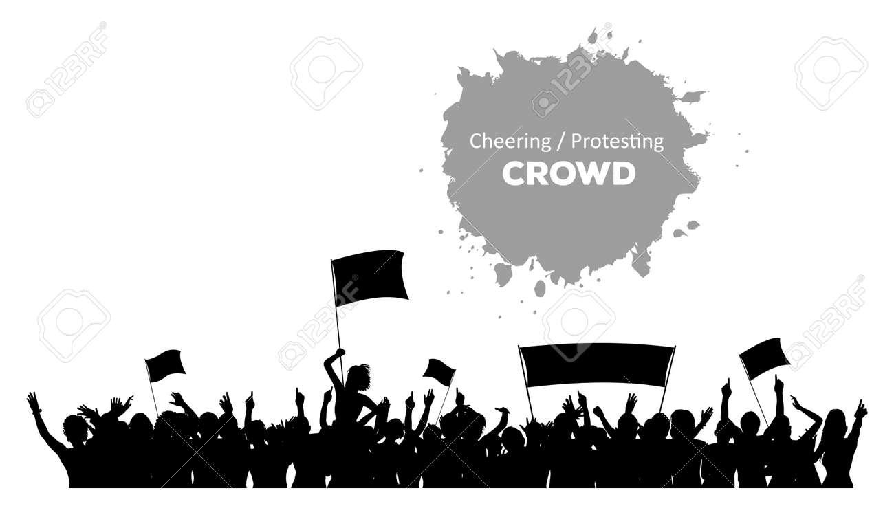 応援旗やバナーで観客を抗議のシルエットのイラスト素材ベクタ Image