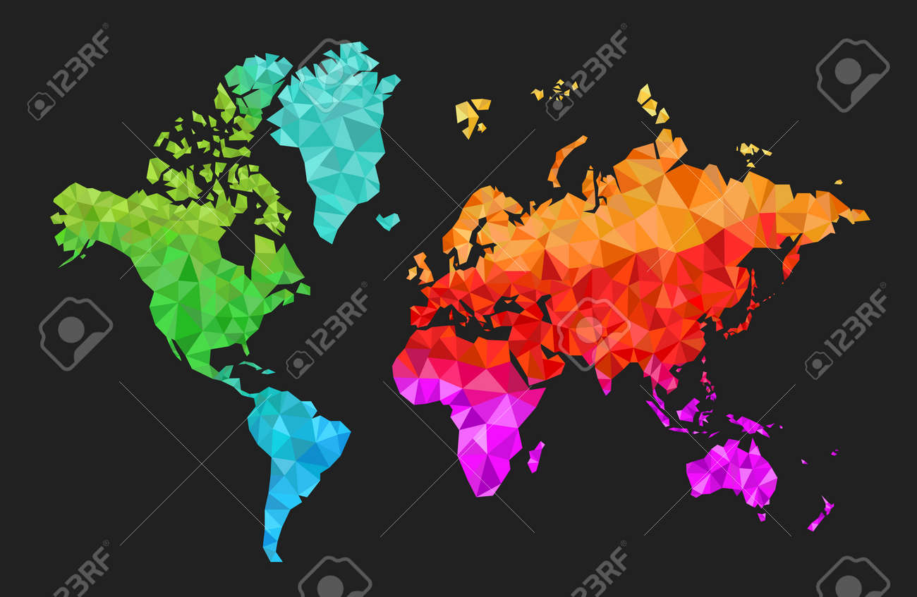 Geometric world map with the continents made of triangles in geometric world map with the continents made of triangles in many colors stock vector 53163301 gumiabroncs Image collections