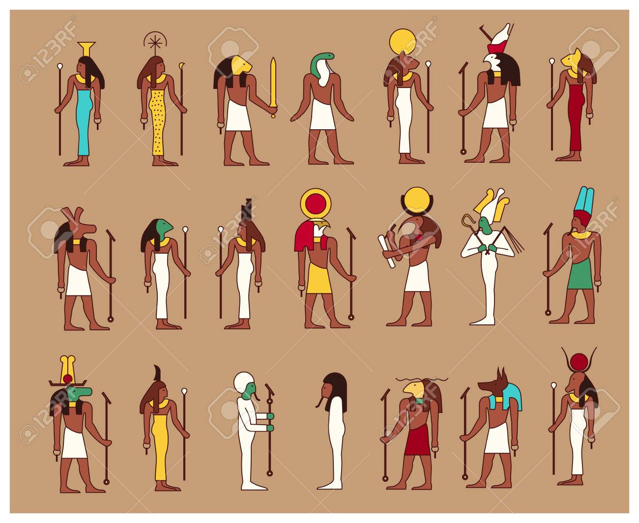 Set of 21 ancient male and female egypt gods drawn in classic set of 21 ancient male and female egypt gods drawn in classic egyptian style stock vector publicscrutiny Image collections
