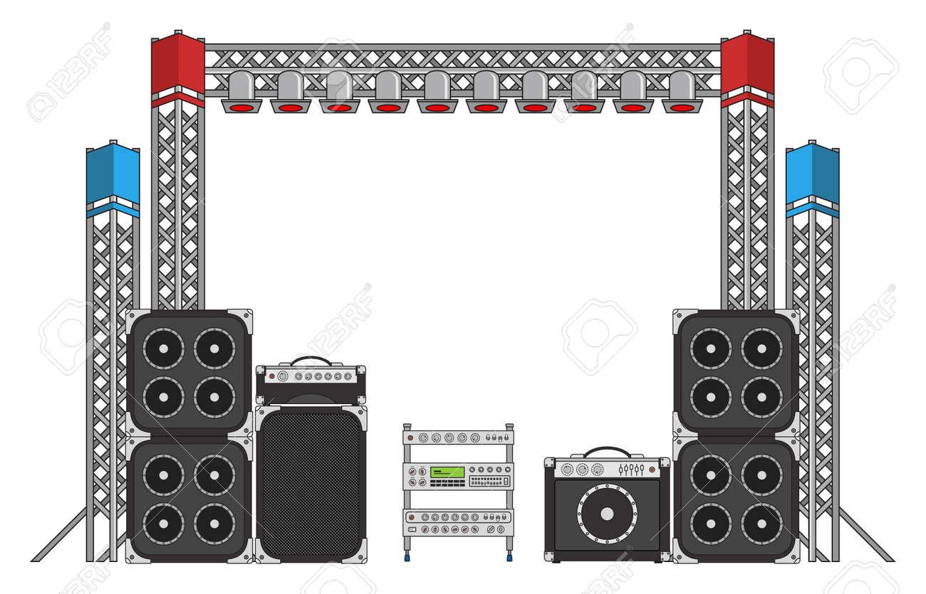 foto de archivo grandes conciertos y festivales modernos altavoces equipos de luz y equpment