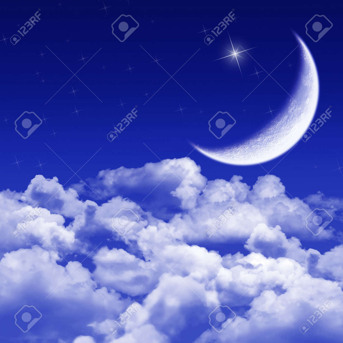 New moon and stars shining above blue clouds Stock Photo - 2284045