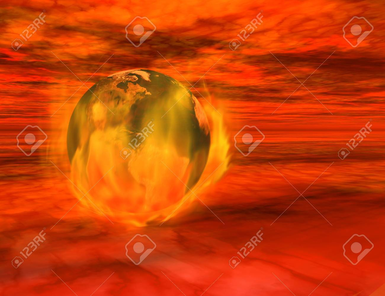 The end of the world - 3d render of the Earth on fire, floating among menacing red clouds. Stock Photo - 2286615