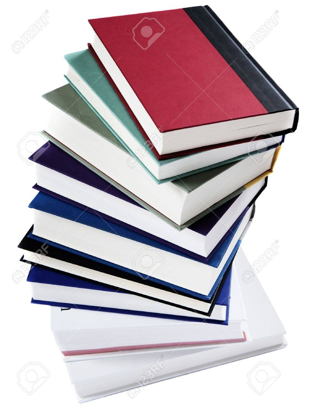 Stack Of Books Arranged In A Spiral Staircase Isolated On White