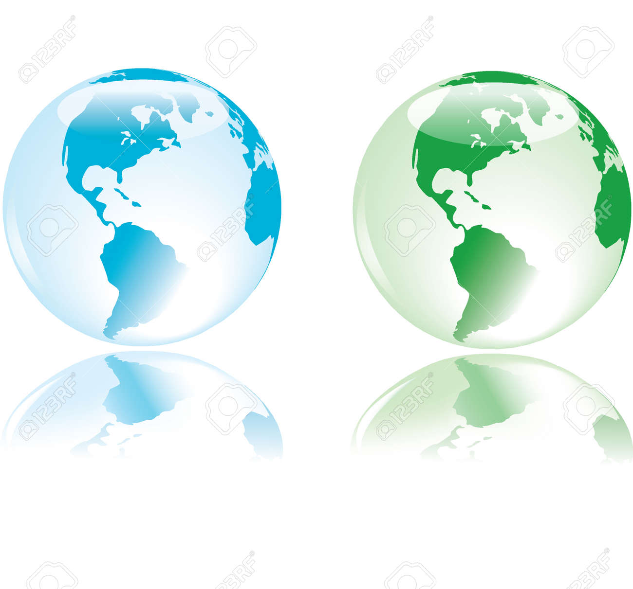 Glass like earth with delicate reflection, in colors representing the four elements - water, fire, land, air Stock Vector - 3574615