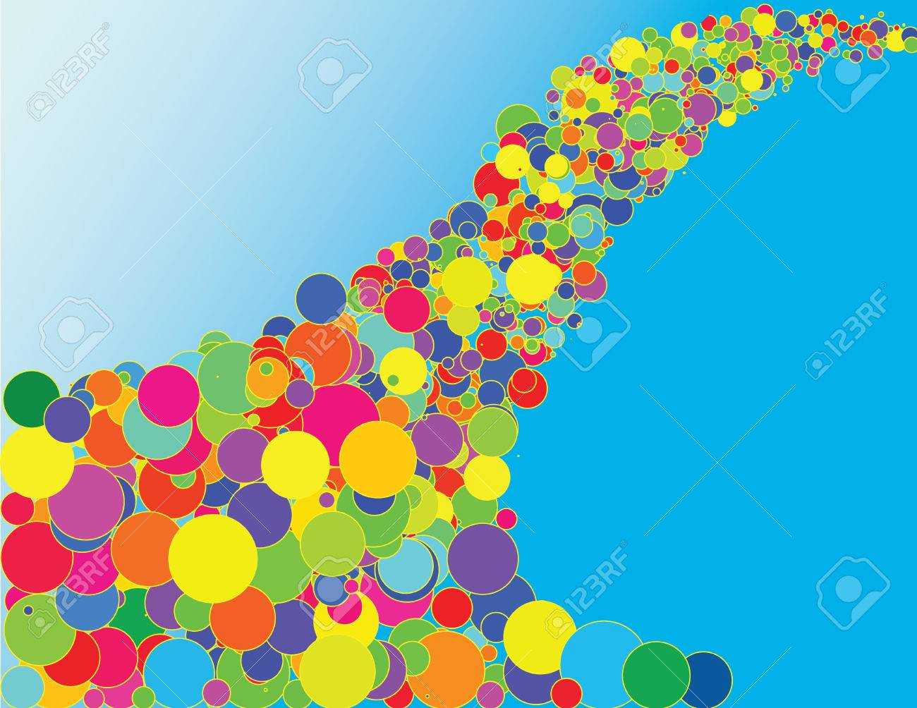 Vector - colorful bubbles with yellow outline flowing on a sky-like blue gradient Stock Vector - 4579550