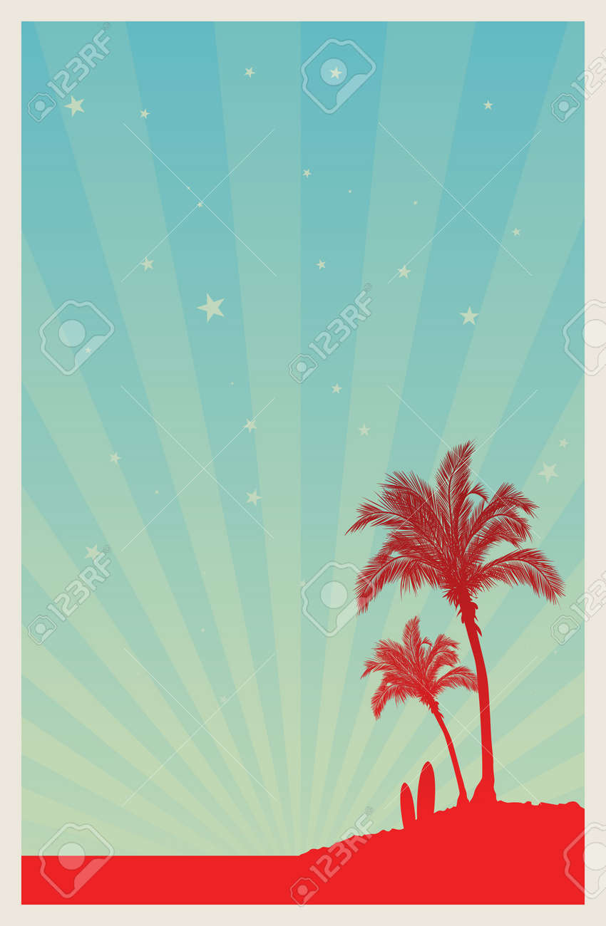 Poster template of a beach with palm trees and surfing boards, sky full of stars. Stock Vector - 14716885