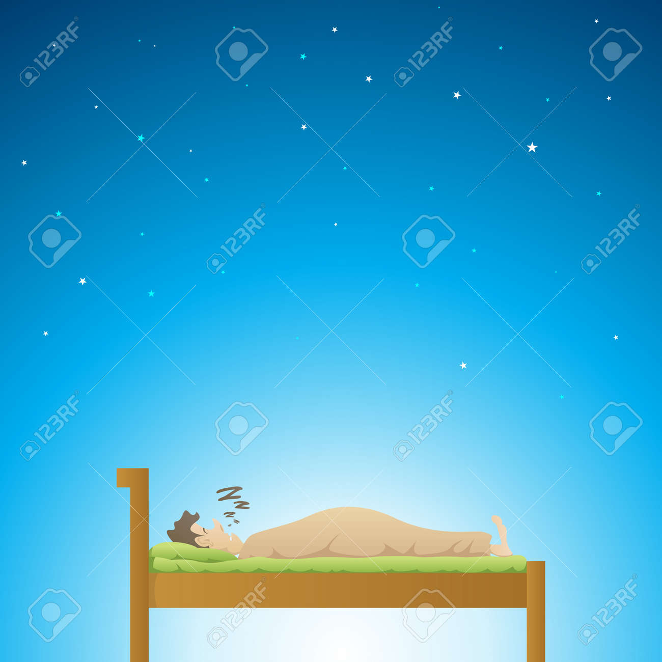 Adult male having a deep sleep at night Stock Vector - 14716838