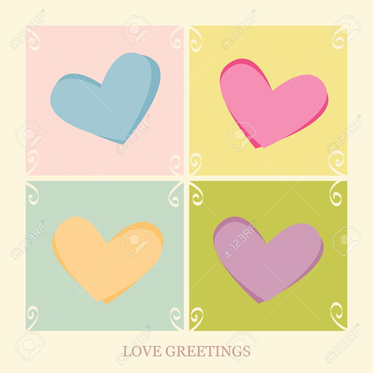 Four hearts on a love postcard Stock Vector - 14716839