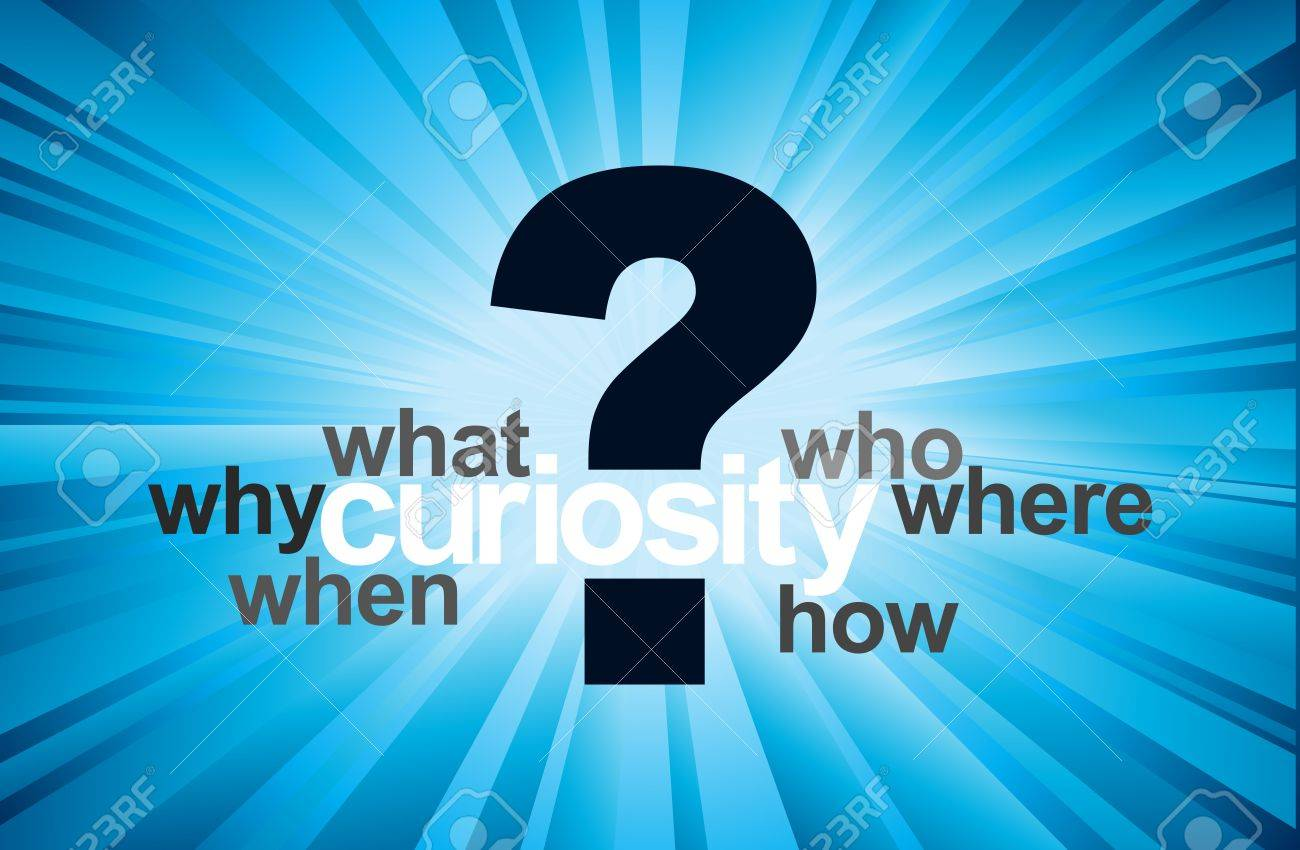 Curiosity concept with question mark and 5W 1H questions, in blue Stock Vector - 14836624