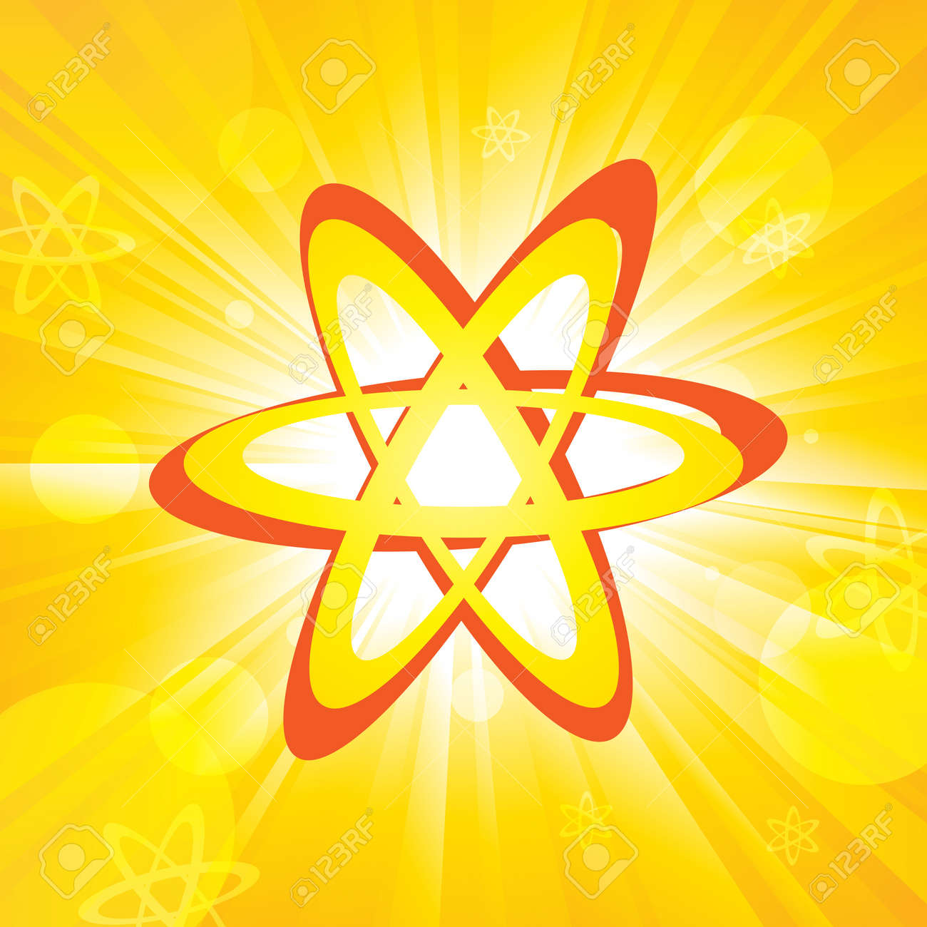 One single atom with atoms and orange colored background Stock Vector - 15205422