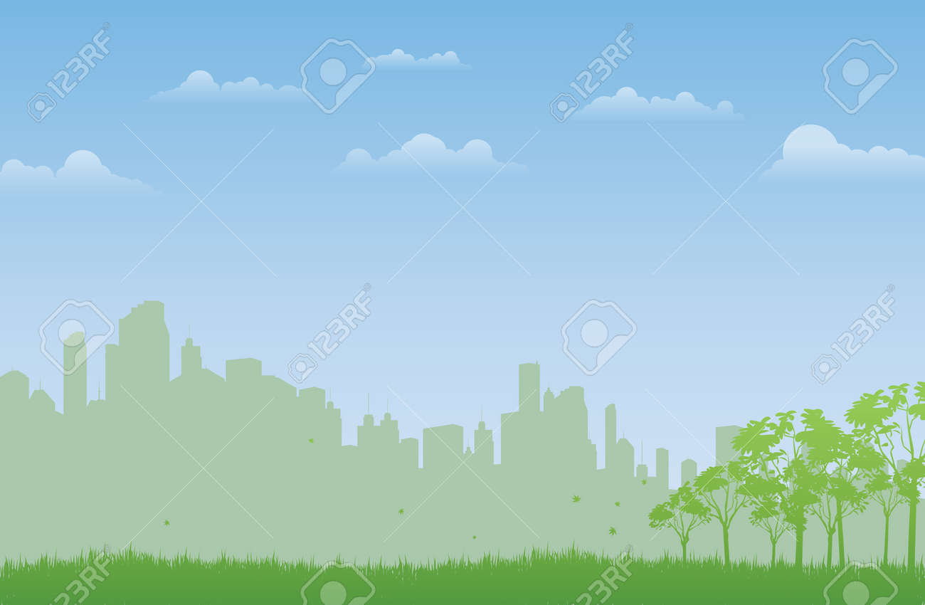 Background of green natural open field in the city Stock Vector - 15205425