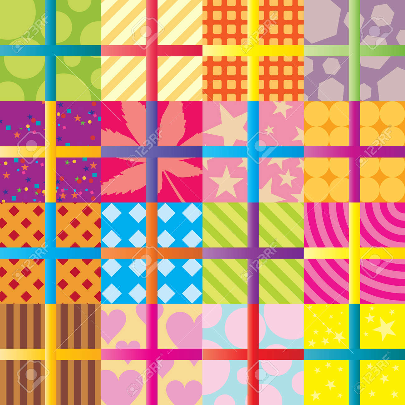 Seamless pattern of colorful gift wrappings Stock Vector - 15205419