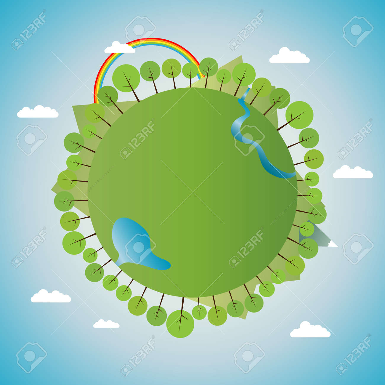 Illustration of green earth full of natural scenery of trees, water bodies and hills and mountains. Stock Vector - 14964786