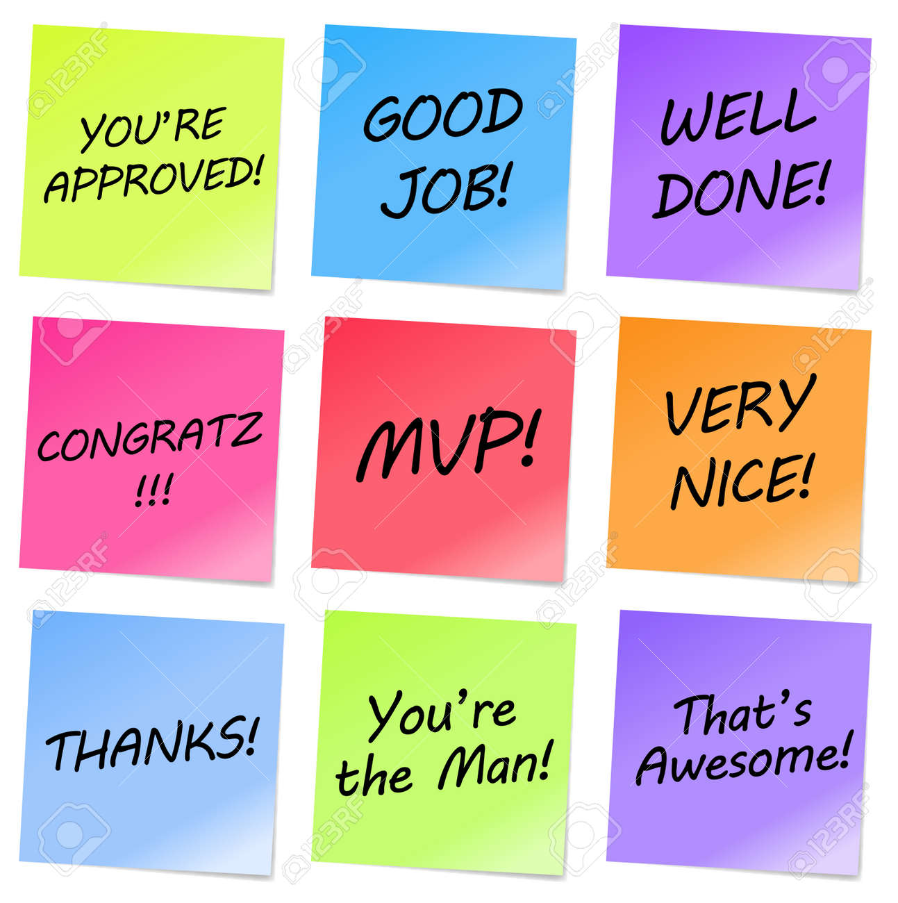 Colorful notes with appreciative words Stock Vector - 14964939