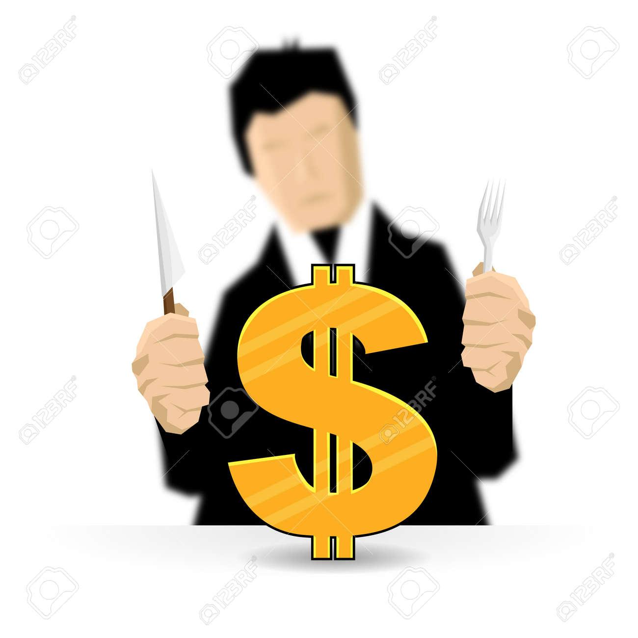 Man preparing to eat a golden dollar  Hope he got a strong teeth Stock Vector - 14964933