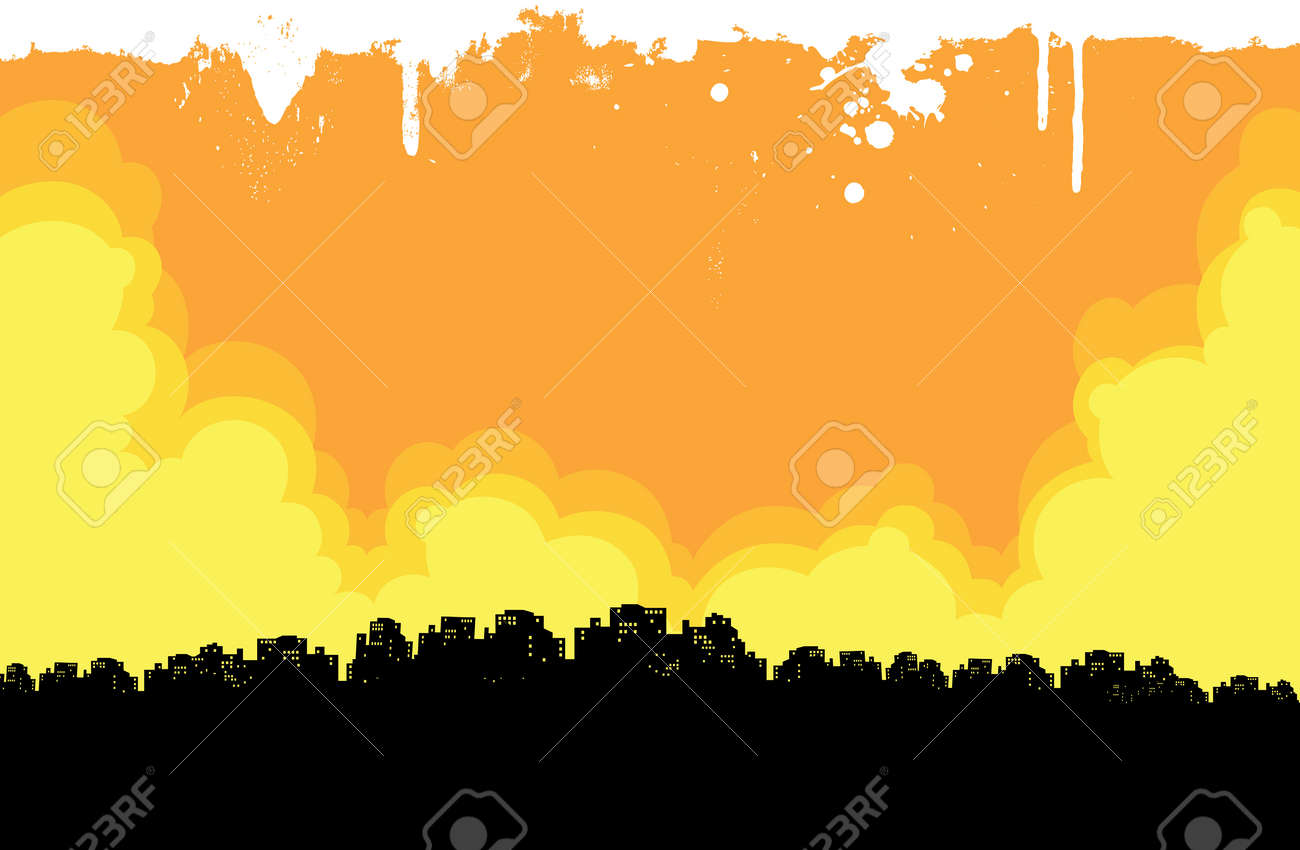 grunge city background of warm colors. Stock Vector - 15611618