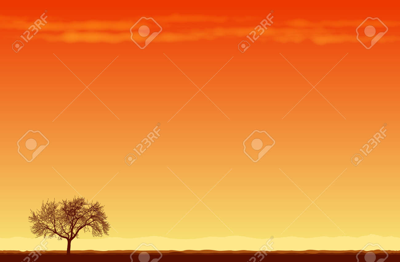 illustration of a lone tree in the middle of desert. Stock Vector - 15665788