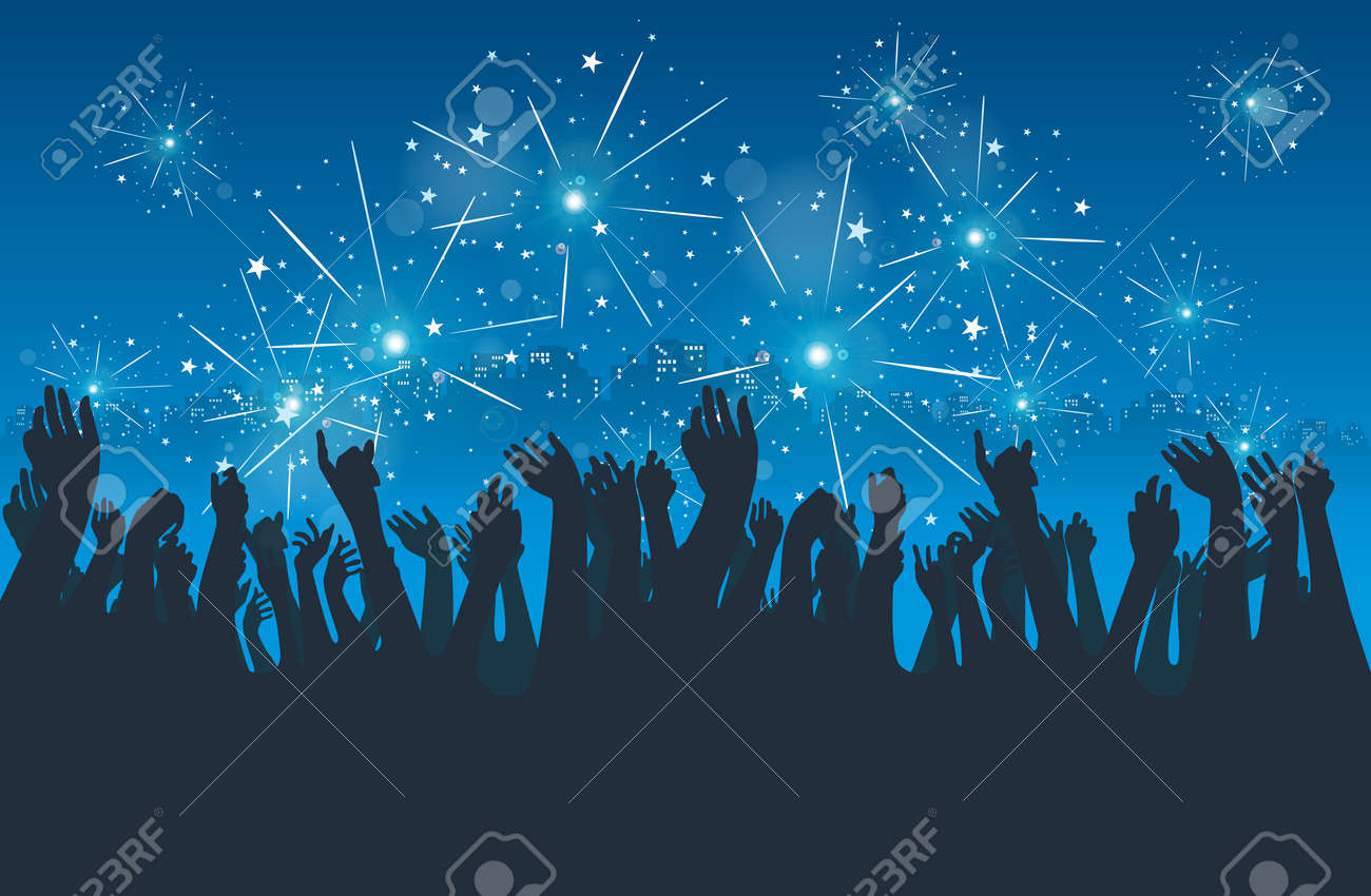 silhoeuttes of people celebrating new year eve in the city. Stock Vector - 15806047
